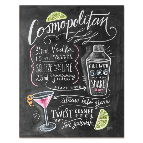 Lily And Val Cosmopolitan Cocktail Recipe Print Chalk Board Art Print Hand Drawn More Print Cosmopolitan Cocktail Recipes Bartender Gifts Cosmopolitan Recipe