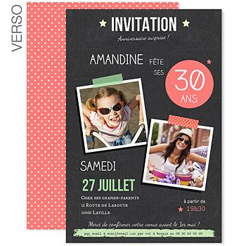 invitations anniversaire adulte ardoise pop 1 fete. Black Bedroom Furniture Sets. Home Design Ideas
