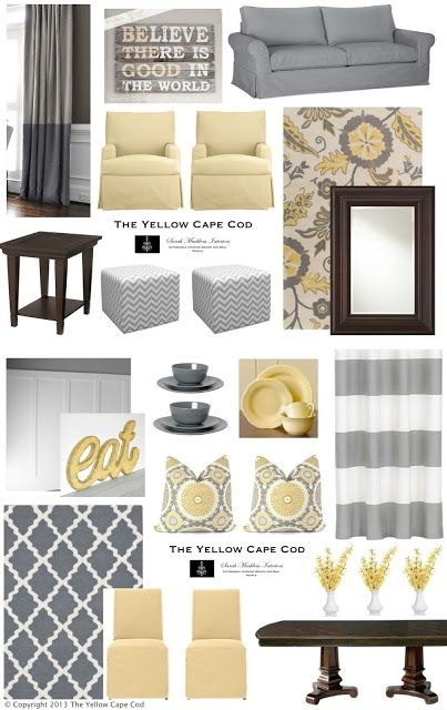 cheerful gray and yellow living room. The Yellow Cape Cod  Cheerful Child and Pet Friendly Living Dining Room grays yellows gray yellow decor design