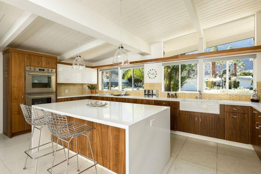 Mid century modern renovated kitchen LOVE the color but ...