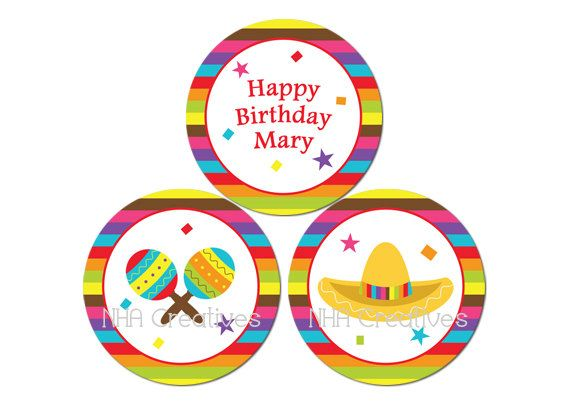 Personalized Fiesta Birthday Cupcake Toppers Personalized DIY Printable Digital File