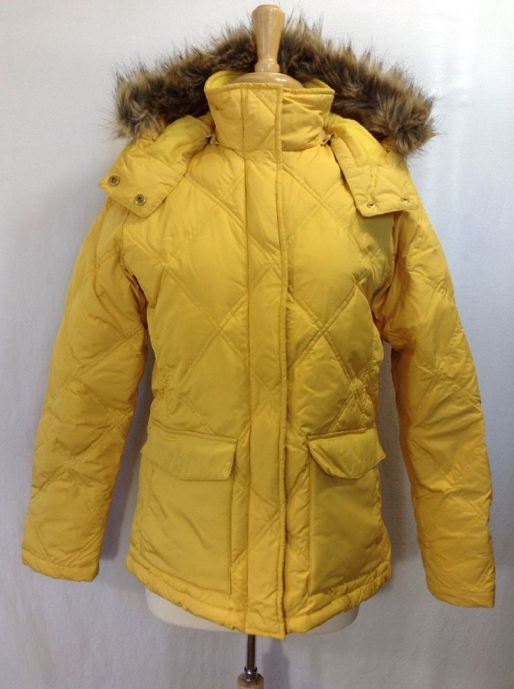 dff09e330 LAND'S END Down Parka Coat Jacket Ski Snow Quilted Yellow Faux Fur ...