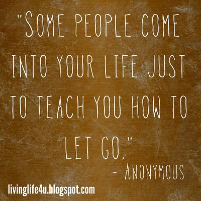 "Everyone that comes into our life is there to teach us a lesson, remember that and seek out the lessons.  Sometimes it is simply to teach us to let go...check out the latest entry on ""Live YOUR Life Blog""!"