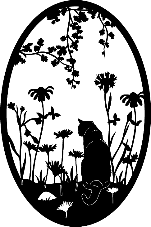 Garden Cat Ovals 1 Cut Ready DXF File Design for CNC cutting systems #windowssystem