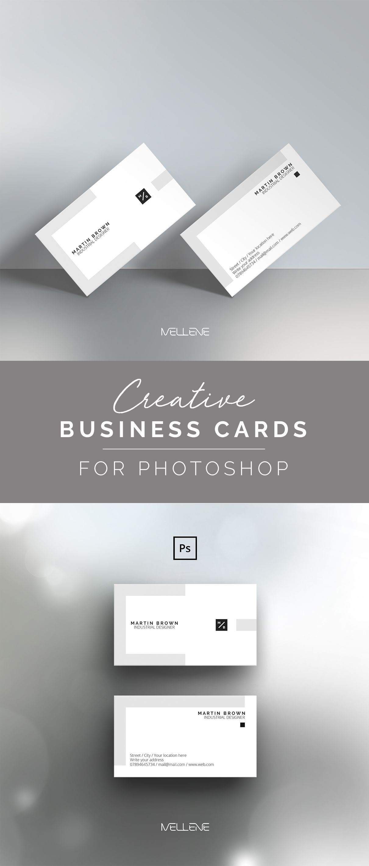 Business Card Template For Adobe Photoshop Psd File Minimalist Clean Elegant Double Sided Design Fully Adjustable Business Card Design Minimal Minimalist Business Cards Business Card Template