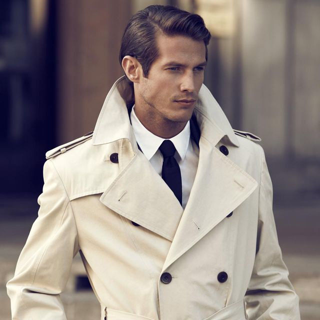 Mens Casual Pocket Point Half Trench Coat - Beige | Trench, Man ...