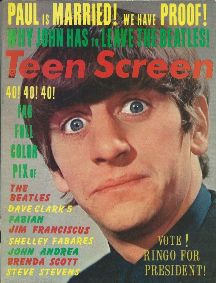 Ringo Starr. Teen Screen Magazine, August 1964 | In 1964 ...  Ringo Starr. Te...