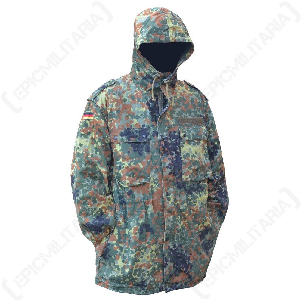 German Army Flecktarn Camouflage Parka with Hood Up