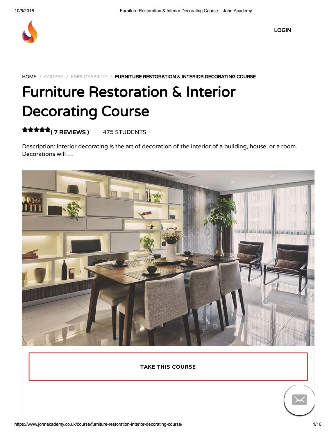 Furniture restoration  interior decorating course john academy event management diploma pinterest and also rh