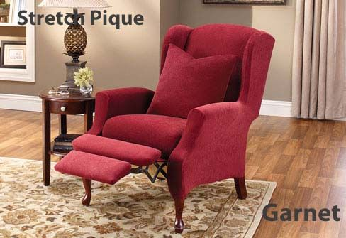 Box Cushion Wing Chair Cover In Stretch Pique Recliner Slipcover Furniture Slipcovers Recliner