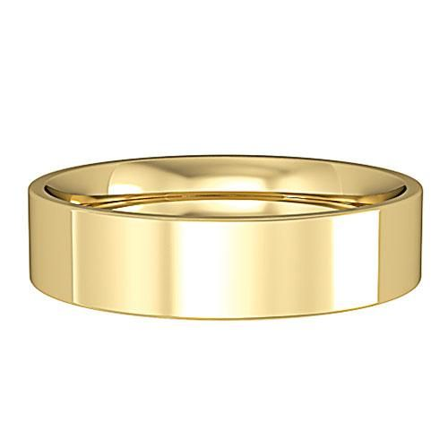 18ct Yellow Gold 5mm Wide Flat Court Profile Wedding Ring