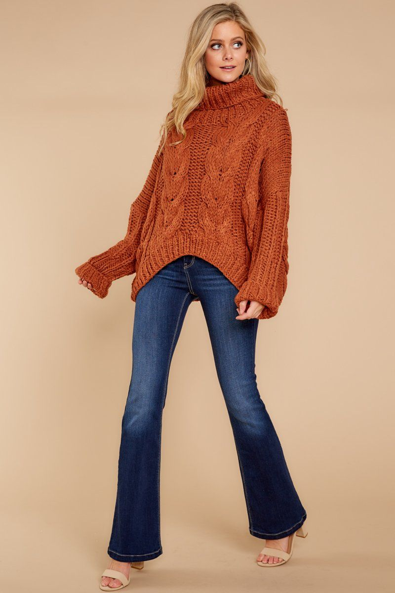 9b39559b6c Cozy Orange Cable Knit Sweater - Trendy Turtleneck - Sweater -  82.00 – Red  Dress Boutique