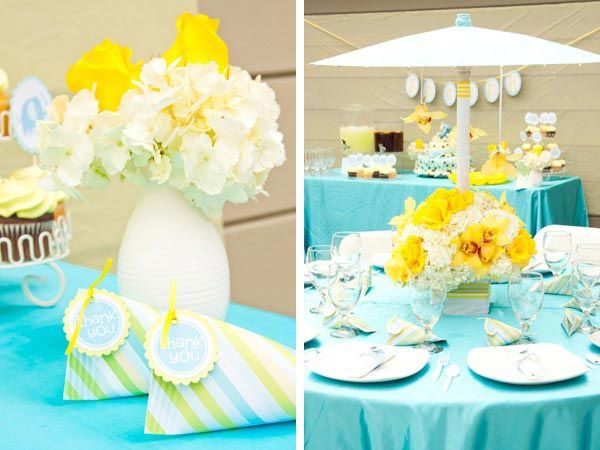 Real Baby Shower Yellow Blue Elephants Baby Shower Centerpieces