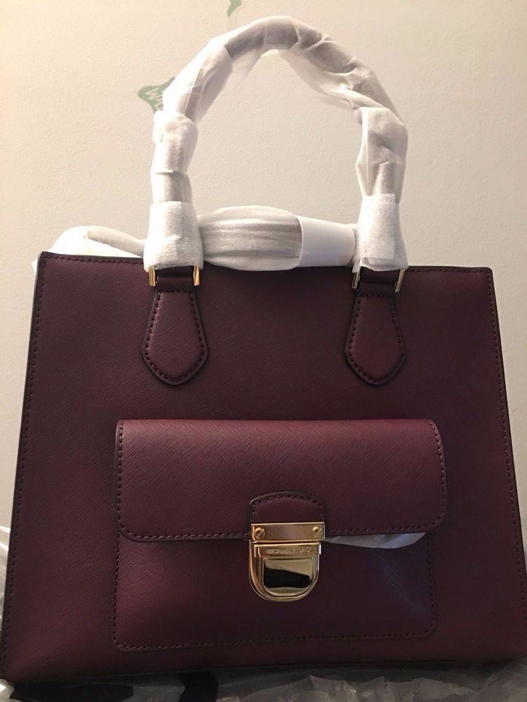bac80bbc0cd92 Michael kors saffiano leather bridgette medium ew tote bag in plum nwt  authentic