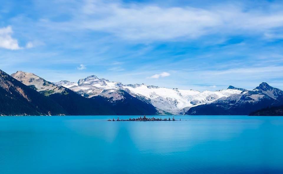 Garibaldi lake in the Canadian Rockies was created when