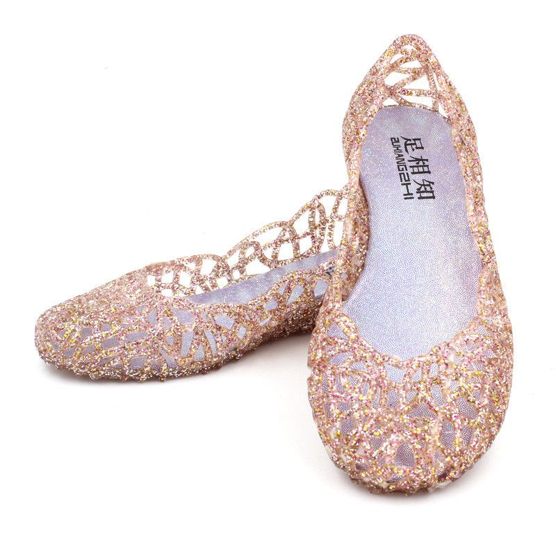 Click to Buy << Fashion summer Womens Hollow Crystal Shoes Jelly Sandals  silver. >>