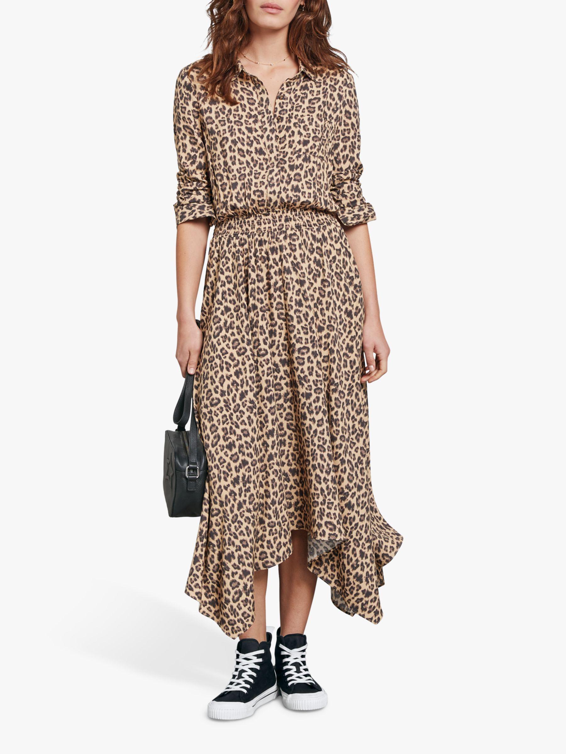 Women Leopard Print Midi Dress Lady Long Sleeve V Neck Party Wrap Shirt Dress UK