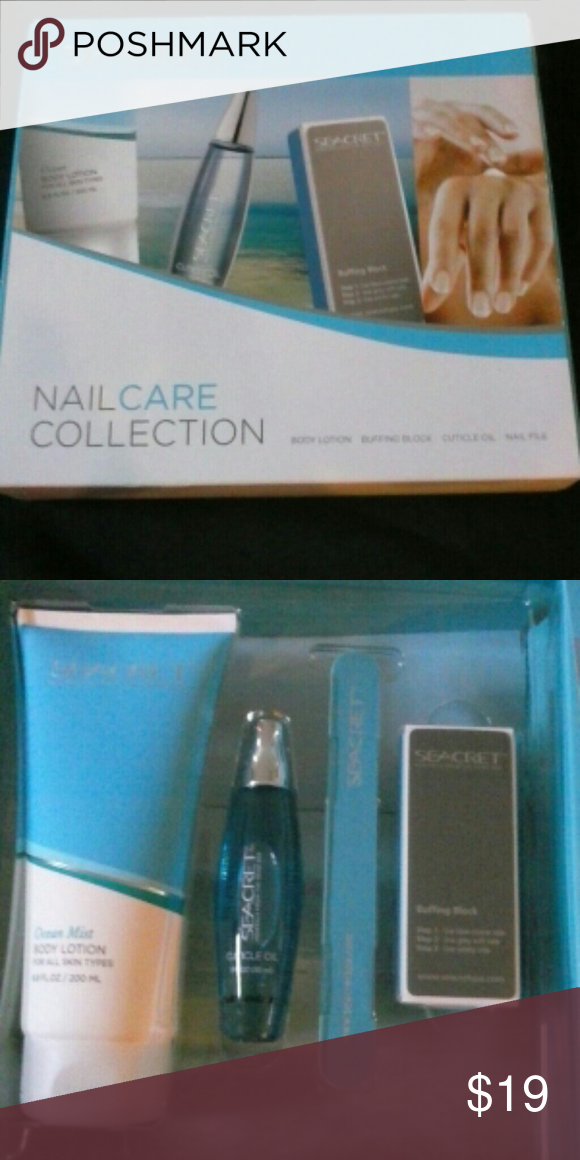 Seacret Nail Care Collection! NWOT comes boxed Minerals from the Dead Sea nail care collection includes body lotion, buffing block, cuticle oil, nail file.