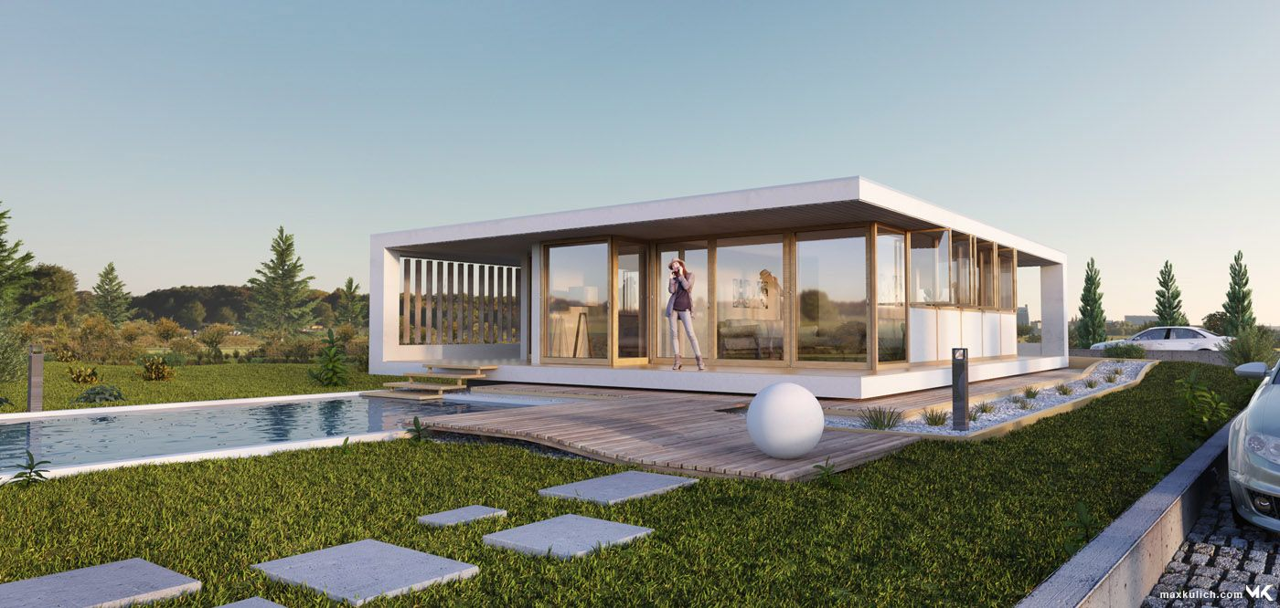 3D Architectural Visualization, Modern Bungalow | technical drawing ...