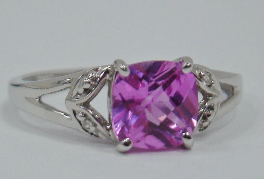 Solid 10k White Gold Cushion Lab Created Pink Sapphire Diamond Ring Size 7 25 Unbranded Pink Sapphire Diamond Ring Pink Sapphire Sapphire Jewelry