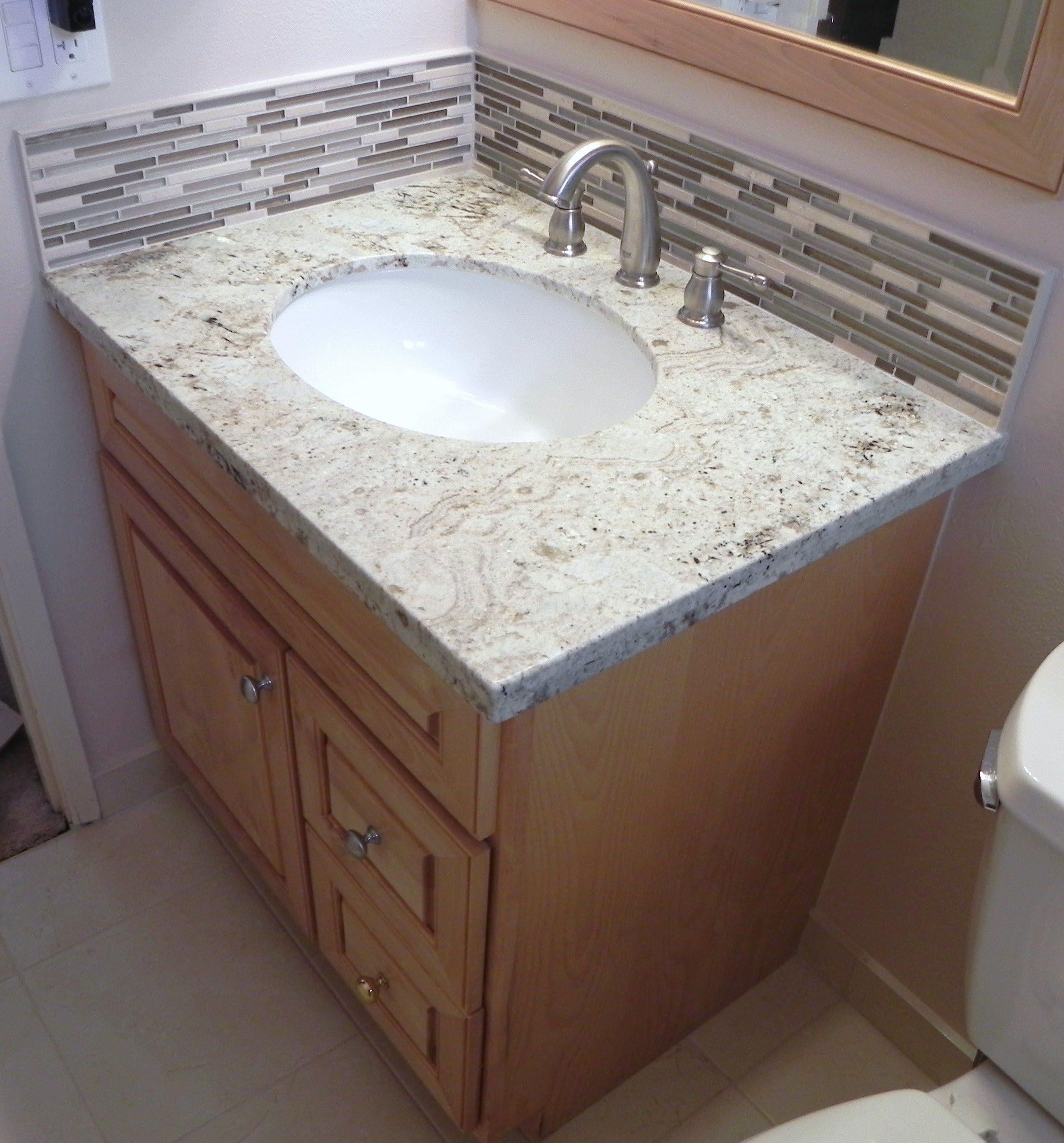 How To Install Vanity Granite Top Stone Glass Backsplash Schluter