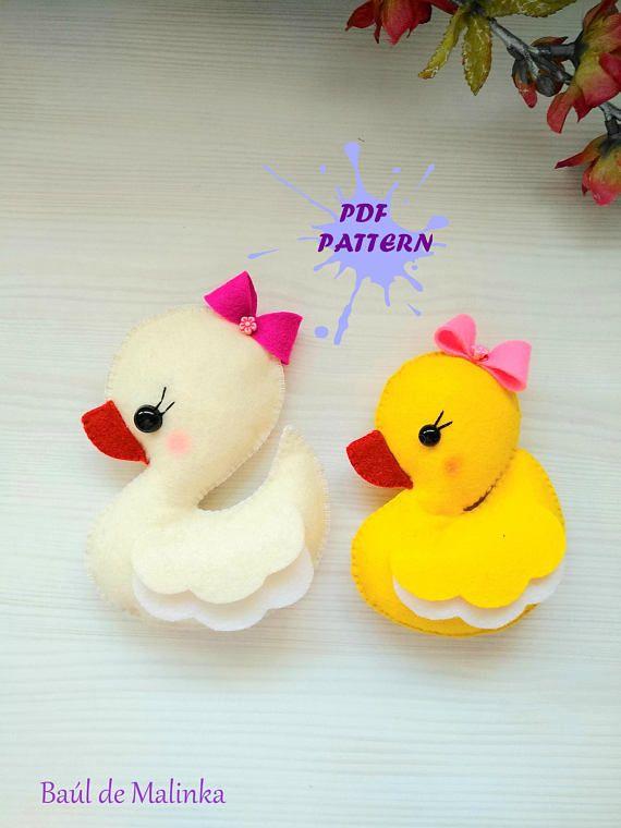 Pdf Pattern Duck Baby Girl Animal Ornament Pattern Felt Softie