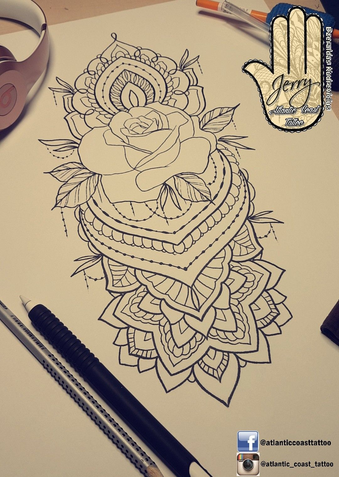 Beautiful Rose Tattoo Idea Design For A Thigh Arm By Dzeraldas Jerry