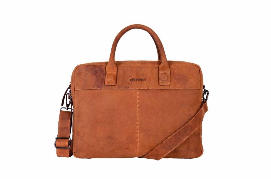 c4f85495b15 DSTRCT Wall Street Leren Business Laptoptas 15,6 inch Cognac ...