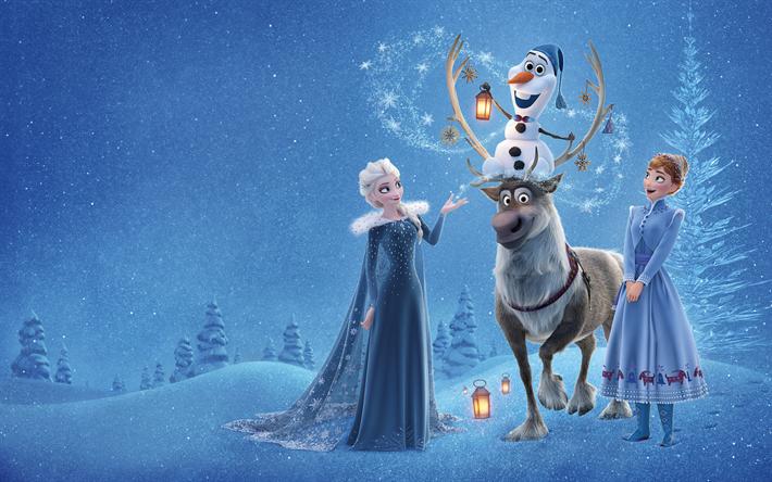 Download Wallpapers Elsa Olaf Anna Kristoff 4k Olafs Frozen Adventure 2017 Movie 3d Animation Besthqwallpapers Com Olaf Frozen Olaf Frozen Movie