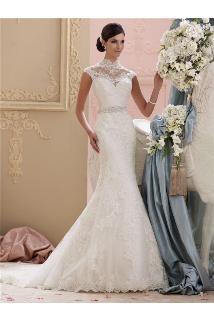 Mermaid High Neck Collar Cap Sleeve Vintage Lace Wedding Dress With ...