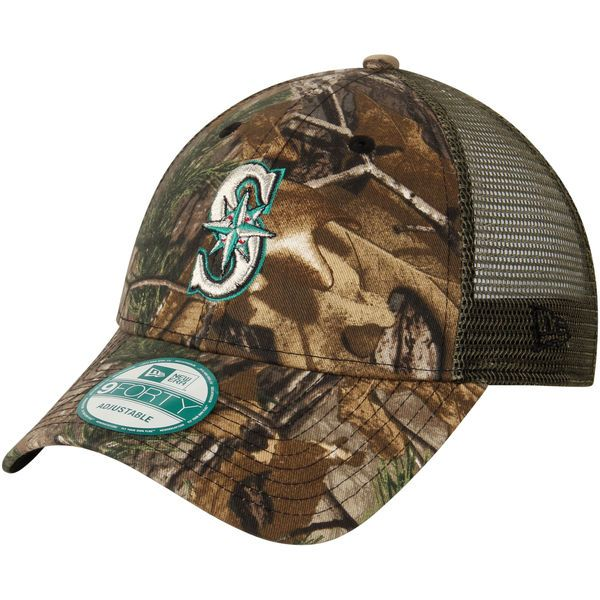 check out aabe2 cb70f Men s Seattle Mariners New Era Realtree Camo Trucker 9FORTY Adjustable Hat