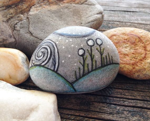 Hand Painted Rock Being - They Brought the Winter