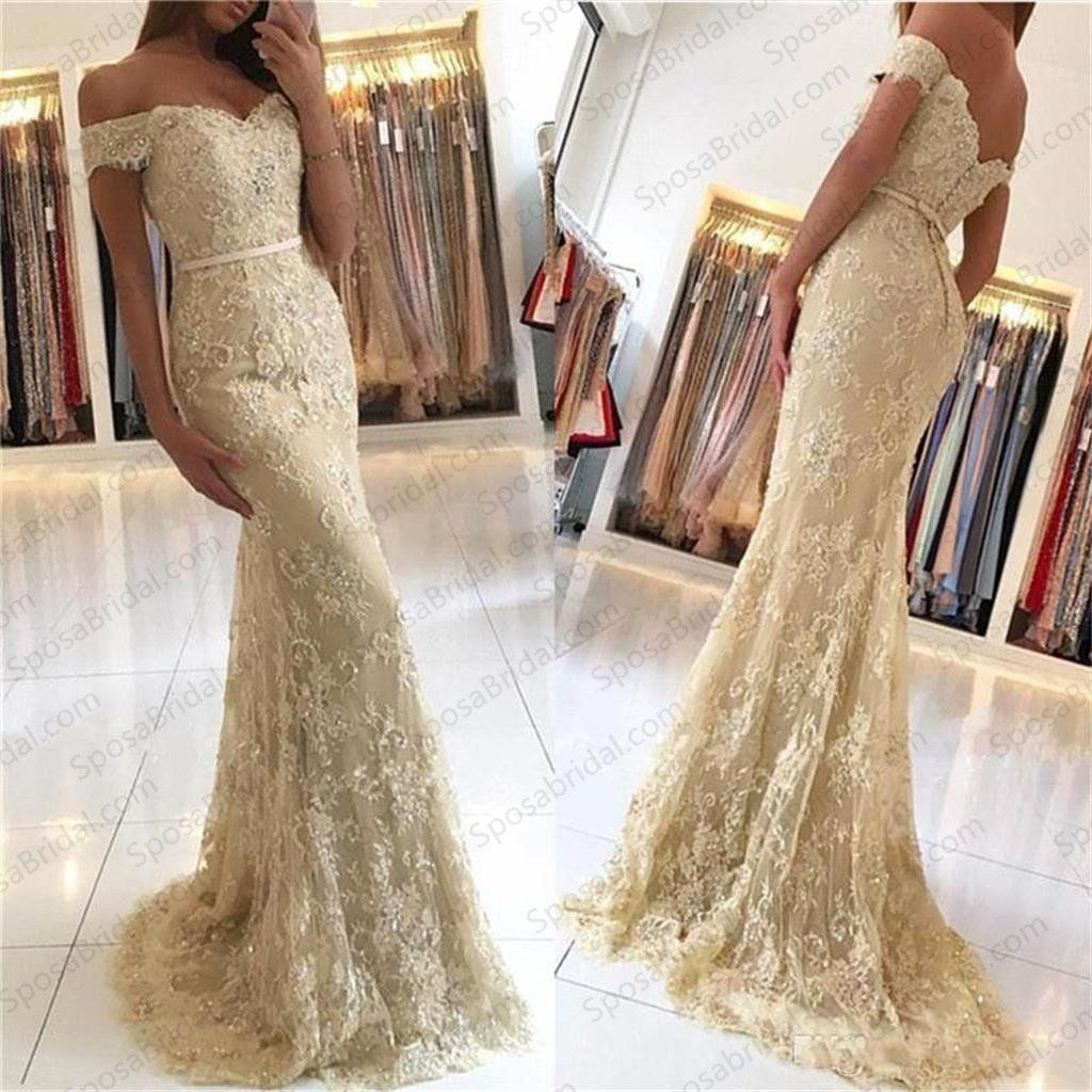 Charming mermaid off the shoulder prom dress lace evening dress long