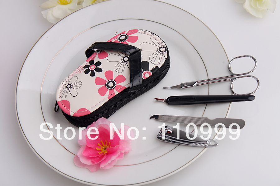 100PCS/LOT Pink Polka Dot Flip flop Pedicure Set favor Wedding bridal shower favors $190.00