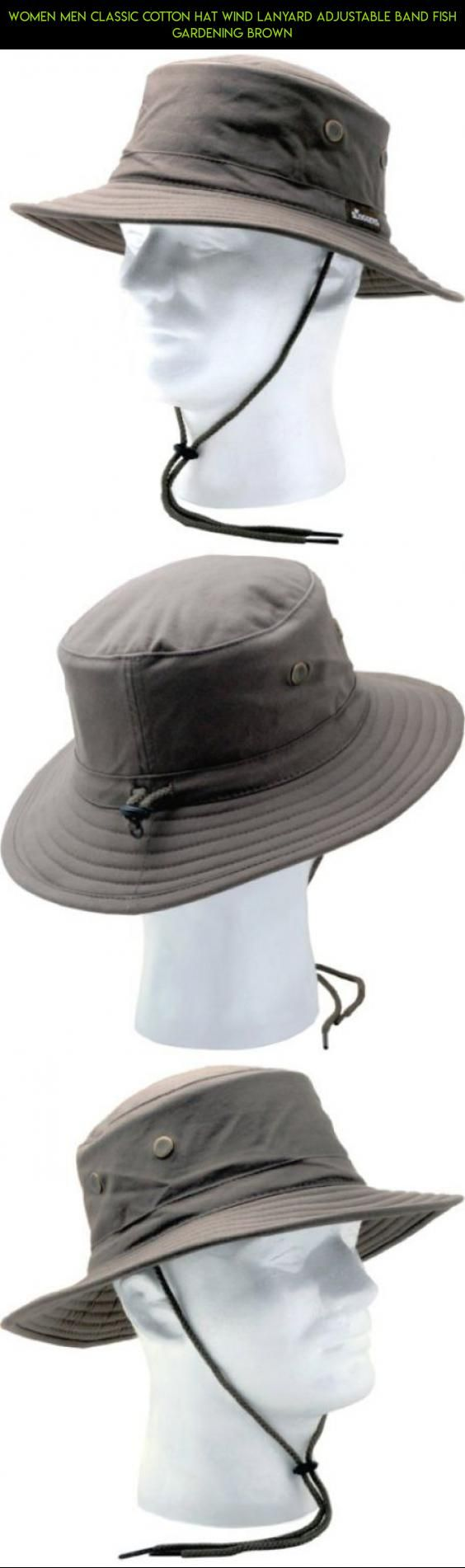 Women Men Classic Cotton Hat Wind Lanyard Adjustable Band Fish Gardening Brown #kit #camera #shopping #hats #for #fpv #parts #plans #gadgets #tech #men #products #drone #racing #technology #gardening