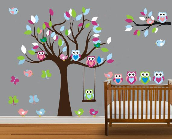 Vinyl Wall Decal On Sale Colorful Nursery Cute Owl Family Tree Trees Owls  Home House Art Wall Decals Wall Sticker Stickers Baby Room Kid