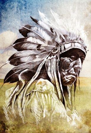 入れ墨の芸術、功妙な背景の上のインディアン ヘッドのスケッチ