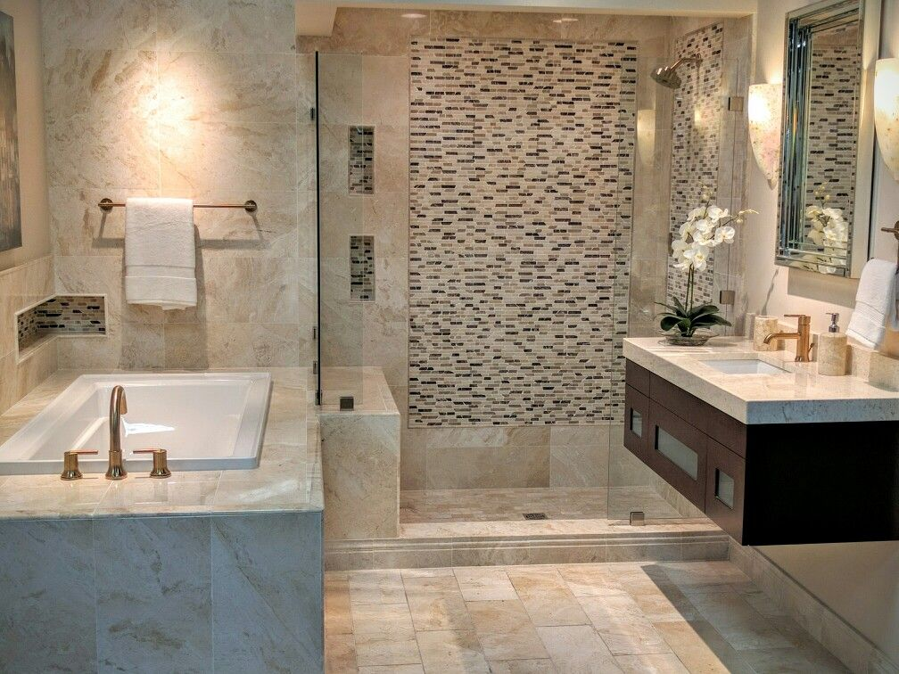 Small tile recessed spaces, vanity, mirror   Small tiles ...