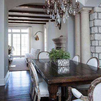 Dark Wood Dining Table With Gray French Dining Chairs French Pleasing Dark Grey Dining Room Design Ideas