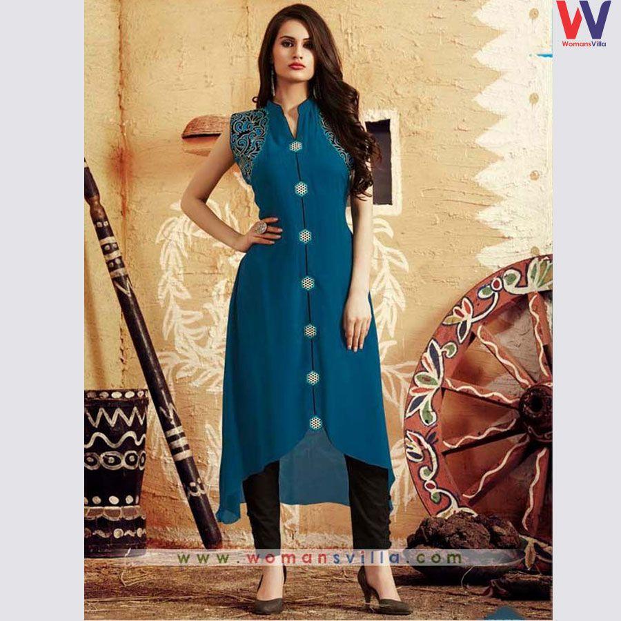 Alluring Blue Colour Kurti#party kurtis#womansvilla