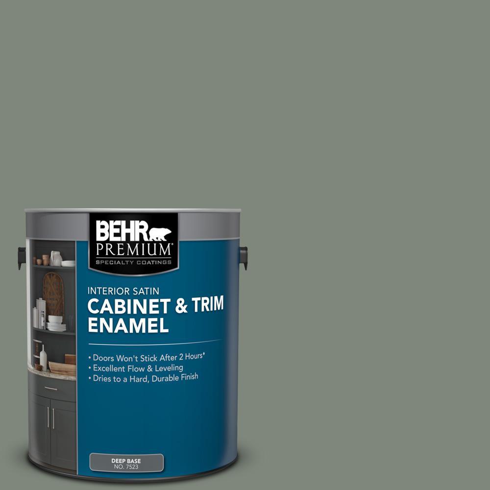 Behr Premium 1 Gal N410 5 Village Green Satin Enamel Interior Cabinet And Trim Paint 752301 The Home Depot In 2021 Painting Trim Behr Premium Behr