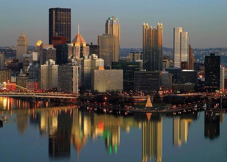 Great reflection pittsburgh city pittsburgh skyline
