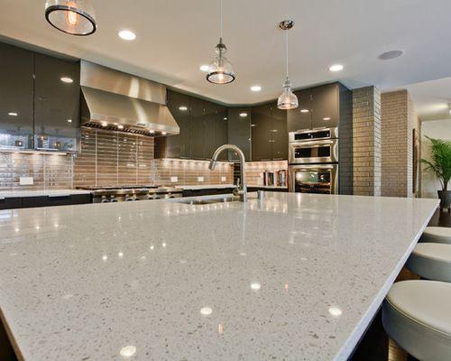 White Sparkle Kitchen Countertops