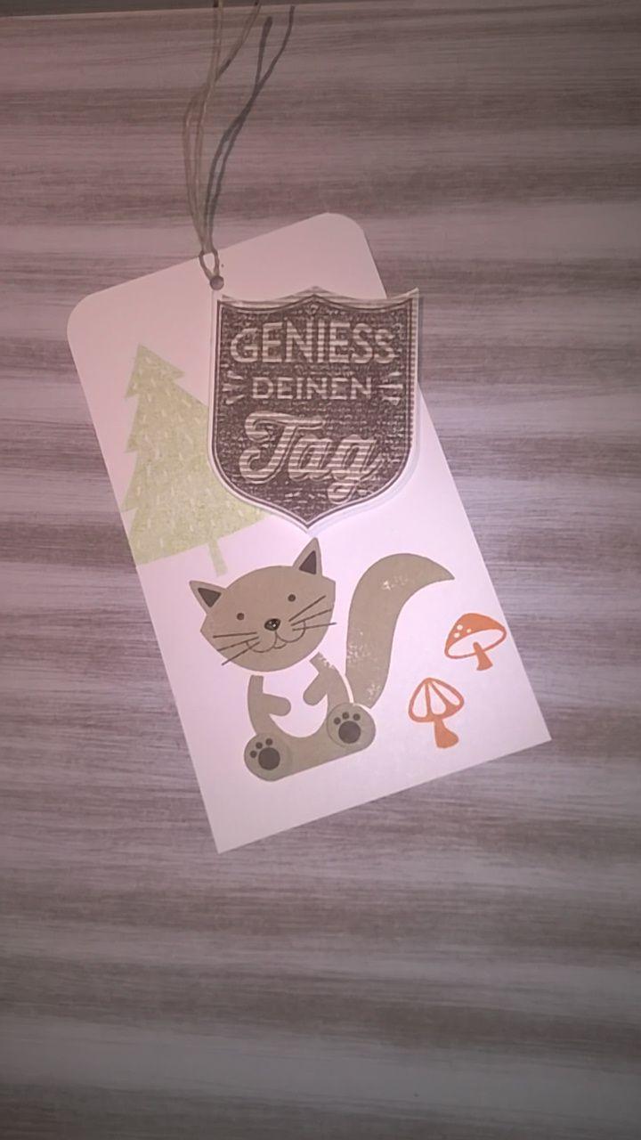 Ein kleines Lesezeichen mir dem schönen set Foxy friends von Stampin'up!