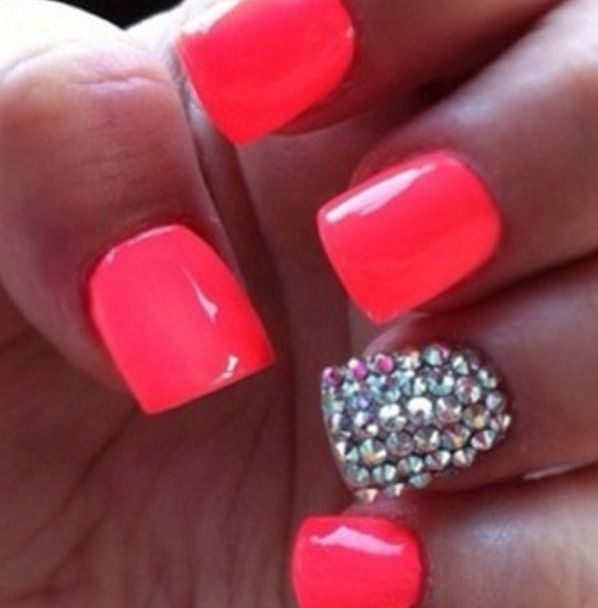 Nice summer color with a little bliing✧✦ - This Pretty But I Woulds Got Em Longer And Stilletossss Beutiful