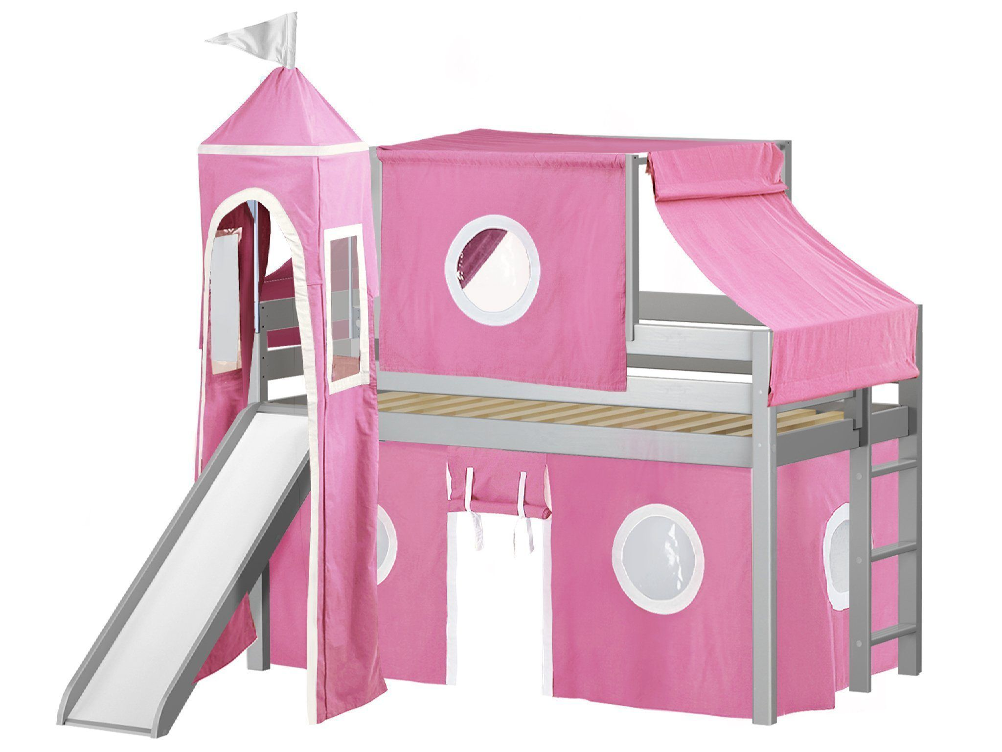 JACKPOT! Princess Twin Low Loft Bed in GRAY with Slide