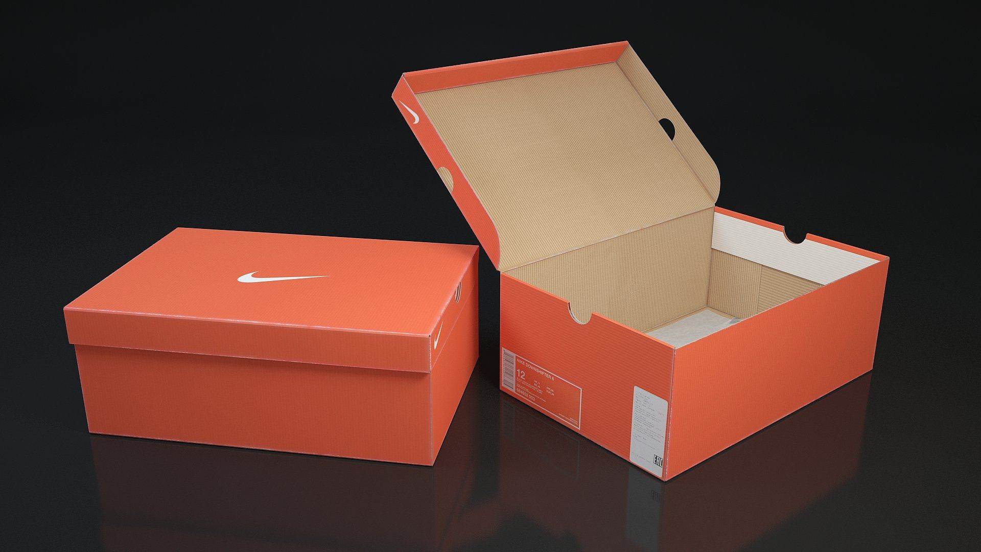 Shoe box Nike 3d 3D model closedopentypescreated (With