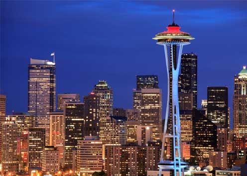 """Happy 50th Anniversary Seattle Space Needle! The top is painted """"galaxy gold"""" to commemorate the event."""
