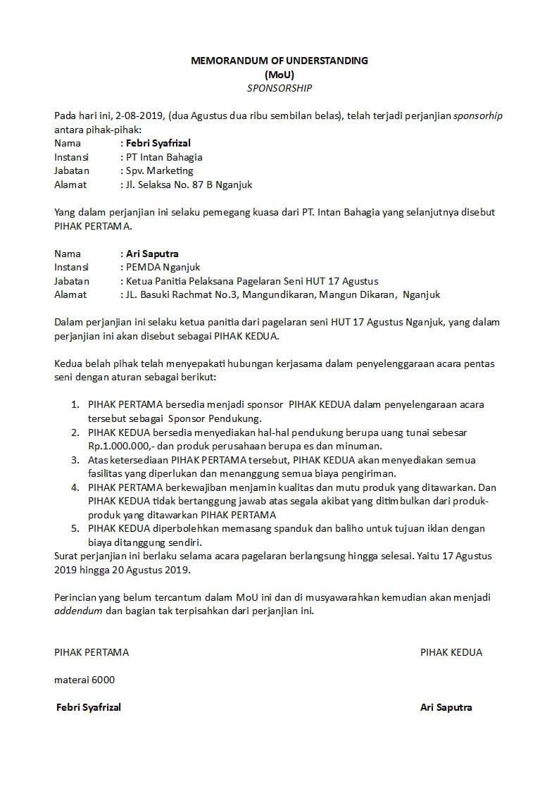 Contoh Memorandum Of Understanding Mou Kerjasama Sekolah Perusahaan Dinas Organisasi Dan Sekolah Surat Organisasi