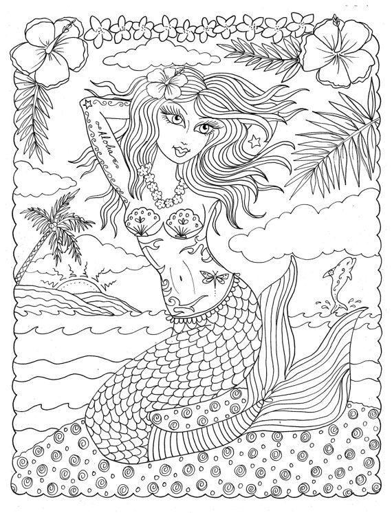 coloring book oh la la sexy pinup tattooed mermaids to color fun ... - Mermaid Coloring Book